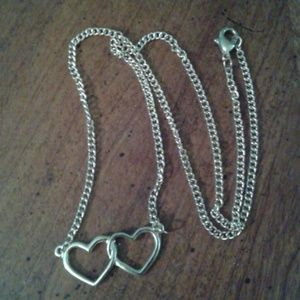 Nwot 3/$13!!  gold tone double heart necklace